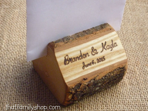 Photo Holder Rustic Wedding Favor Custom Names /Initals /Date /Lettering Memory Picture Stand-thatfamilyshop.com