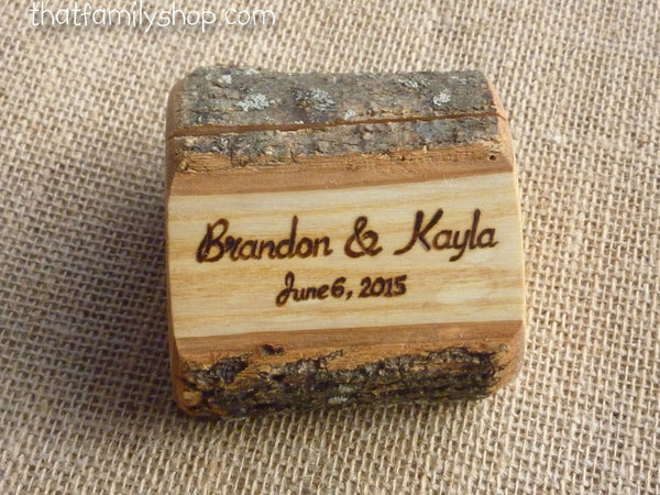 Photo Holder Rustic Wedding Favor Custom Names /Initals /Date /Lettering Memory Picture Stand - thatfamilyshop.com