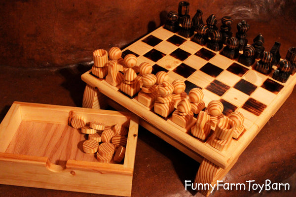 Handmade Chess Set with Heavy Board and Built-in Drawers Family Heirloom - thatfamilyshop.com