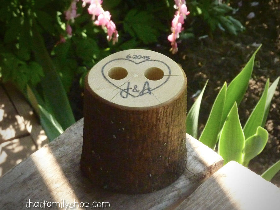 Rustic Wedding Guest Book Pen Holder Table Center Piece Heart Custom Initials - thatfamilyshop.com