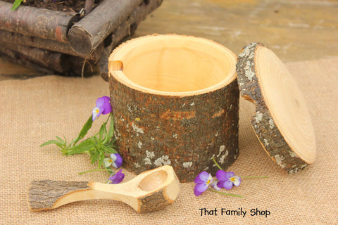 Unique Sugar Pot with Teaspoon Rustic Natural Gift Kitchen Accessory Serving Organizer - thatfamilyshop.com