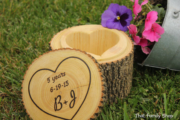 Customizable Names/Date Jewelry Box Extra Deep Personalization Organizer Gift Rustic Log - thatfamilyshop.com