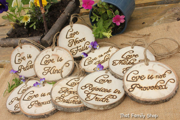 Set of TEN Corinthians Decorations 'Love is Patient, Love is Kind', 1.Cor.13: Rustic Wedding Aisle - thatfamilyshop.com