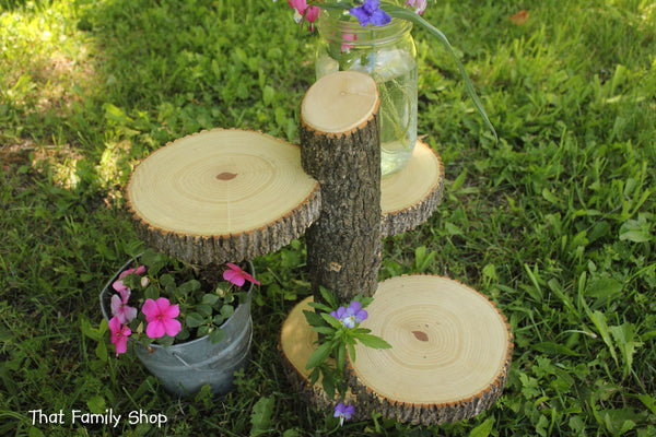 Large 3-Tiered Rustic Wedding Decor Tree Mason Jar / Candle Stand Table Center Piece Cupcake Holder - thatfamilyshop.com