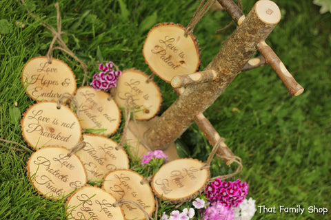 Corinthians Aisle Markers 'Love is Patient, Love is Kind..', Set of Ten 1.Cor.13: Rustic Wedding-thatfamilyshop.com