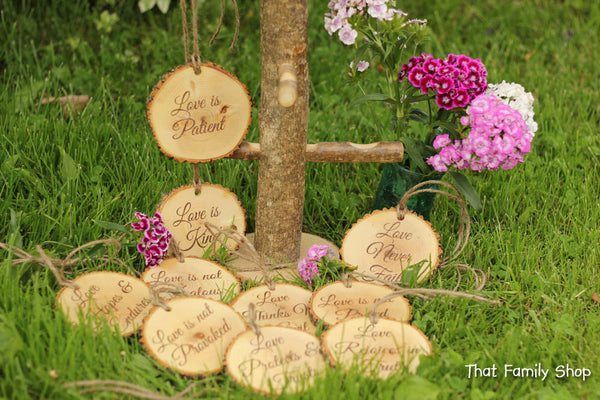 Corinthians Aisle Markers 'Love is Patient, Love is Kind..', Set of Ten 1.Cor.13: Rustic Wedding - thatfamilyshop.com