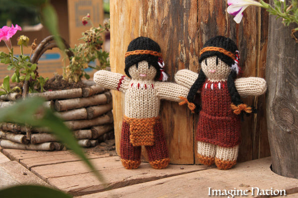 Little Indian Boy and Girl Doll Set Natural Waldorf Educational Toys Ready To Ship - thatfamilyshop.com