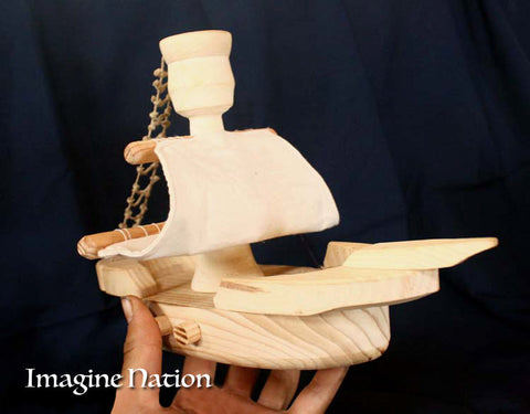 Toy Boat Children's Pirate Ship Natural Wooden Play Ladder Crows Nest Sail Sea - thatfamilyshop.com