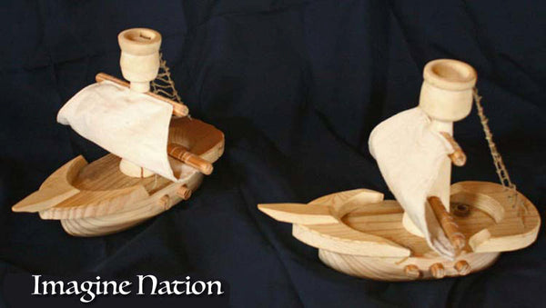 Toy Boat Children's Pirate Ship Natural Wooden Play Ladder Crows Nest Sail Sea-thatfamilyshop.com