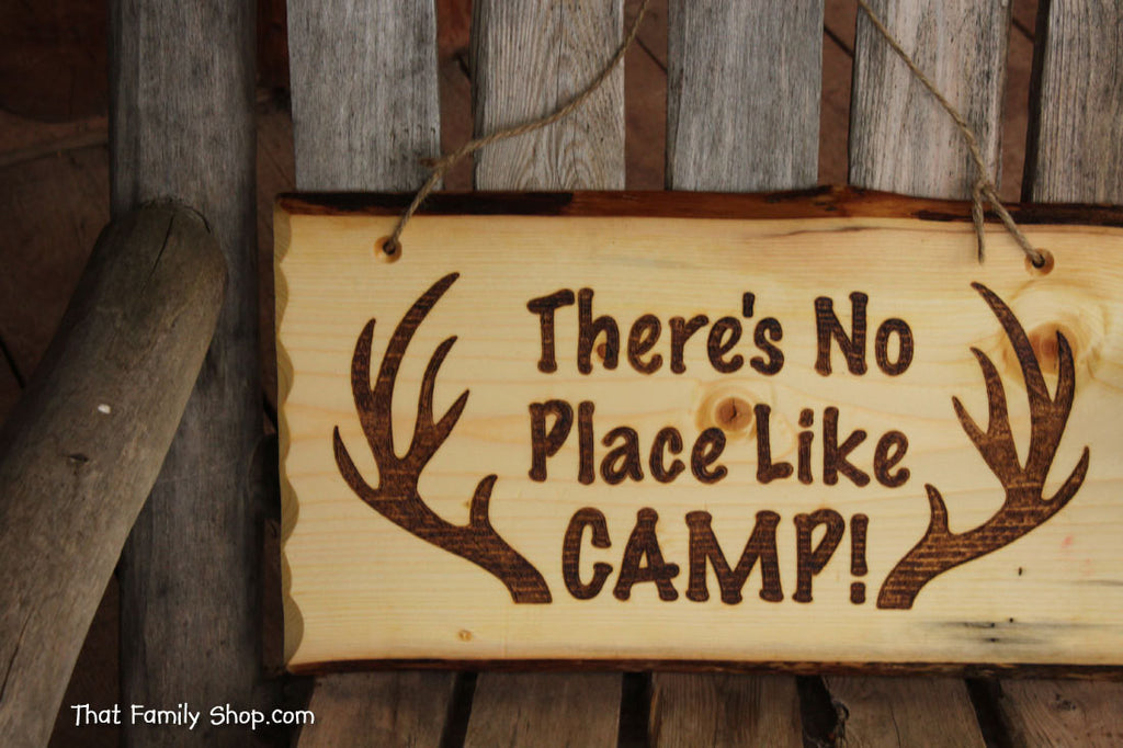 Rustic Wood Camp Sign Welcome Plaque Deer Hunting Cabin Decor