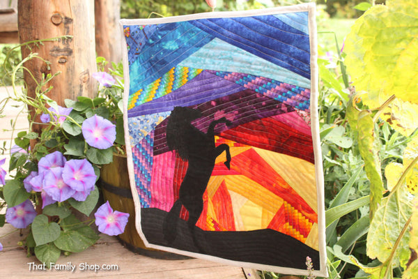 Sunset Stallion: Original Quilted Wall Hanging  Rearing Horse-thatfamilyshop.com