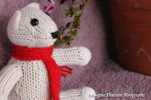 Polar Bear, Plush Toy, Natural Teddy, Wool Materials, Christmas Bear - thatfamilyshop.com