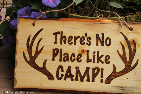 Rustic Wood Camp Sign, Welcome Plaque, Deer, Hunting, Cabin Decor - thatfamilyshop.com
