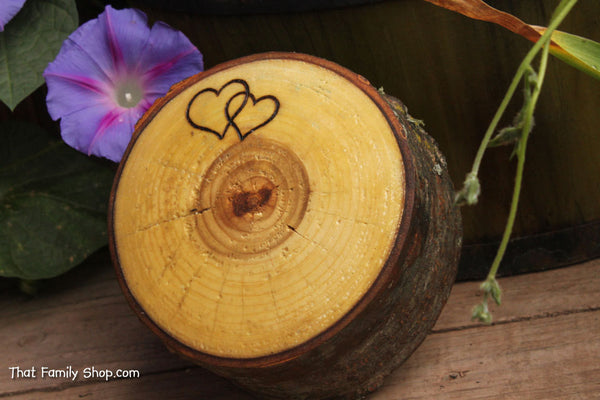 Rustic Log Jewelry Box Two Hearts Custom Personalization Rustic Wedding Ring Box-thatfamilyshop.com