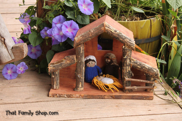 Christmas Nativity Stable and People Combined Set --Limited Sale Price!---thatfamilyshop.com