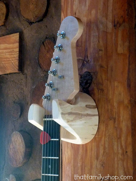 Guitar Hanger Rustic Log Wall-Mounted Unique Gift for Musician, 5 Year Anniversary Present, Banjo, Mandolin, Simple Storage Accesory-thatfamilyshop.com