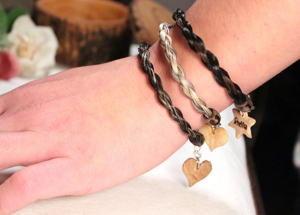 Unique Horsehair Bracelet *Personalized Wooden Heart Charm* Custom Made With Your Horse's Hair!-thatfamilyshop.com