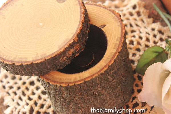 Swivel-Top Rustic Log Jewelry Ring Box with Flocked Felt Interior-thatfamilyshop.com