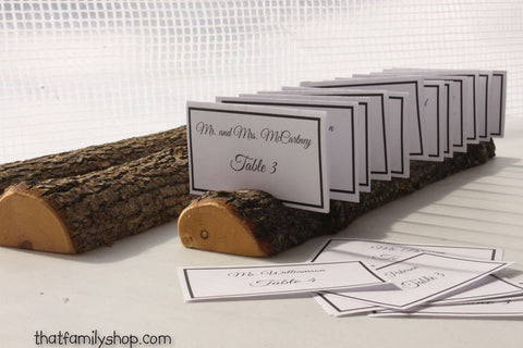 Half-Round Log Card Holder with Rough Bark Table Setting Rustic Wedding Display - thatfamilyshop.com