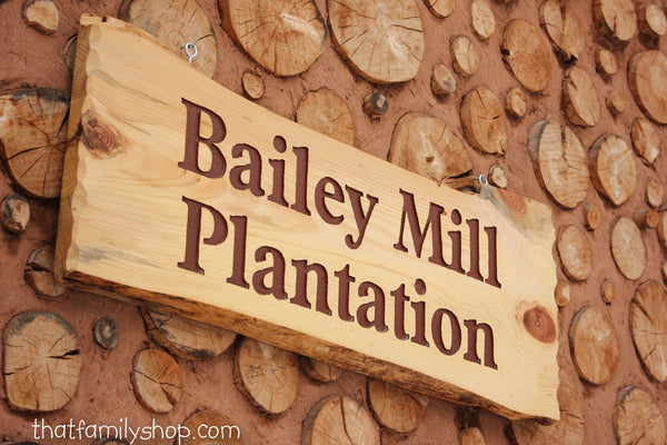Large Engraved Custom Name Sign Rustic Cabin Personalized Plaque Log Slab - thatfamilyshop.com