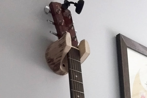 Wall-Mounted Log Guitar Hanger, Rustic Accessory for Musician, Banjo, Mandolin Player - thatfamilyshop.com