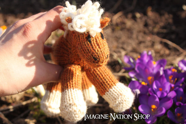 Cindy: Mini Pony, Baby Filly, Plush, Stuffed Horse, Natural Waldorf Toy-thatfamilyshop.com