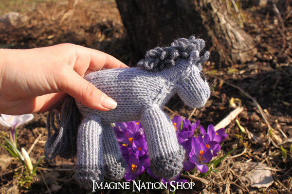 Mini Franklin: Baby Colt, Plush Pony, Stuffed Horse, Natural Waldorf Toy - thatfamilyshop.com