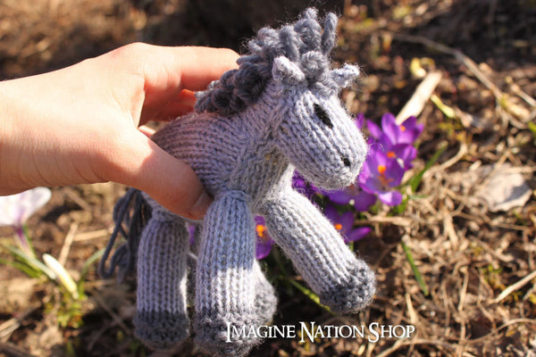 Mini Franklin: Baby Colt, Plush Pony, Stuffed Horse, Natural Waldorf Toy-thatfamilyshop.com
