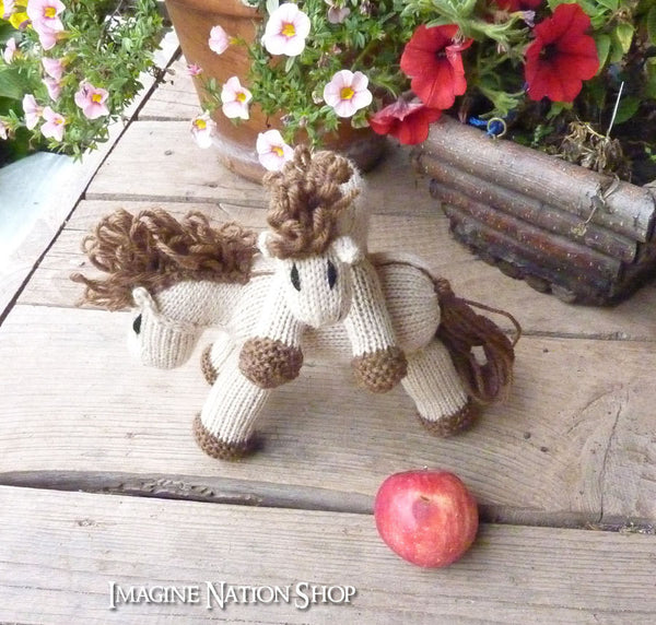 Cinnamon: Mini Pony Girl's Stuffed Animal Knitted Horse Filly Colt Natural Waldorf Toy-thatfamilyshop.com