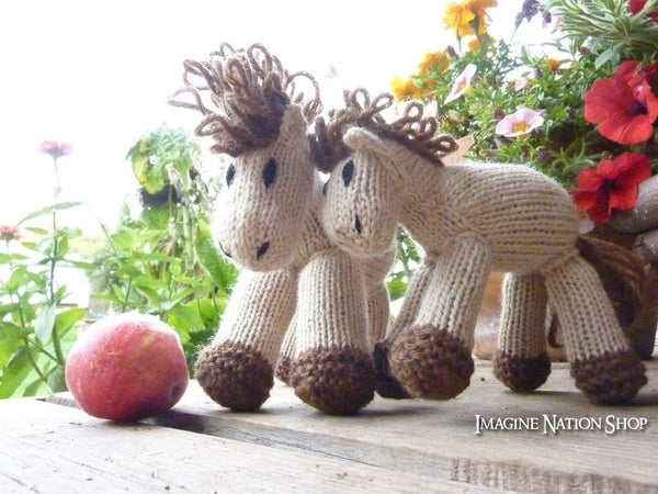 Cinnamon: Mini Pony Girl's Stuffed Animal Knitted Horse Filly Colt Natural Waldorf Toy - thatfamilyshop.com