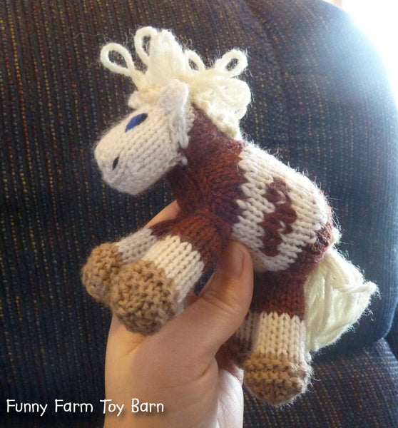 Mini Rain: Pony Knitted Horse Colt Natural Waldorf Toy - thatfamilyshop.com