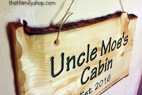 Engraved Rustic Sign, Custom Wood Wall-Hanging with Names, Personalized Cabin Decor, 5th-Year Wedding Anniversary Present Idea Welcome-thatfamilyshop.com