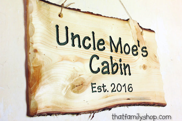 Engraved Rustic Sign, Custom Wood Wall-Hanging with Names, Personalized Cabin Decor, Anniversary-thatfamilyshop.com