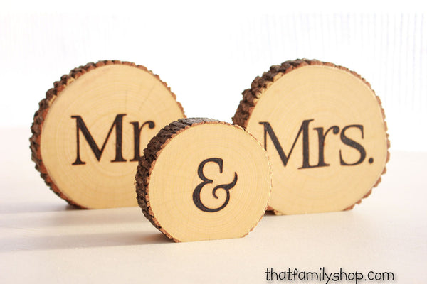 Mr and Mrs Rustic Slices for Sweetheart Table - thatfamilyshop.com