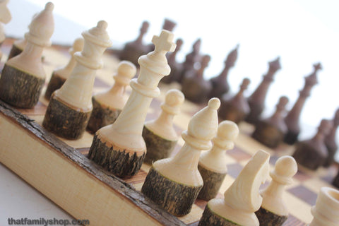 Handcrafted Chess Set with Tree Bark-thatfamilyshop.com