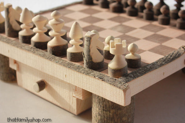 Rustic Log Chess Set with Drawers Family Heirloom Classic Game - thatfamilyshop.com