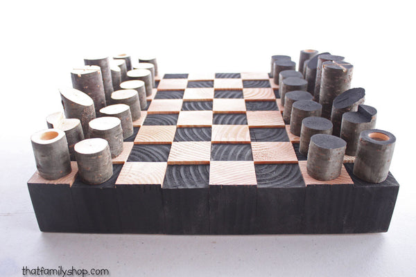 Minimal Style Log Chess Set, Modern and Simple-thatfamilyshop.com