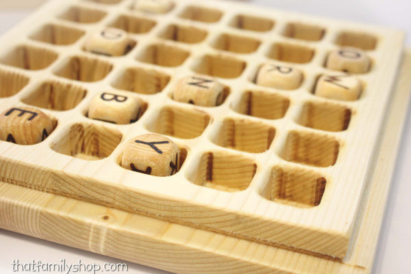 "6x6 ""Super"" Big Boggle Wooden Handmade Family Word Game-thatfamilyshop.com"