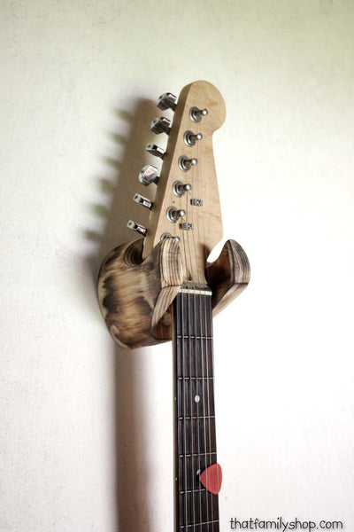 Torched Log Guitar Hanger, Wall-Mounted Rustic Accessory for Musician - thatfamilyshop.com