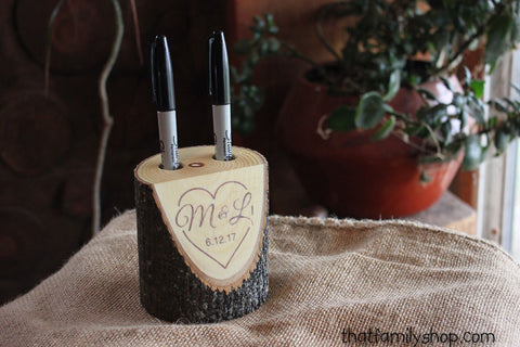 Custom Names and Date Rustic Pen Holder for Wedding Table Guest Book - thatfamilyshop.com