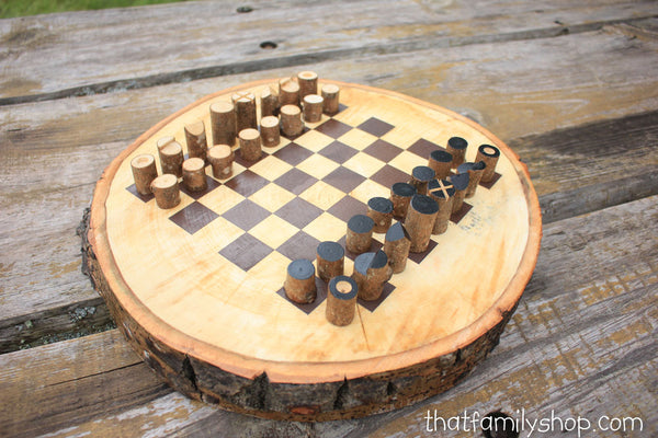 Chess Board On A Log Slice With Unique Log Playing Pieces-thatfamilyshop.com
