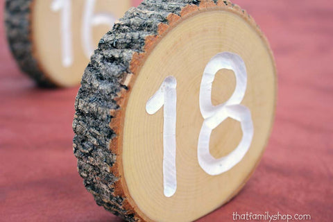 White Engraved Table Number Log Slices, Rustic Wood Bark Country Wedding Decor-thatfamilyshop.com
