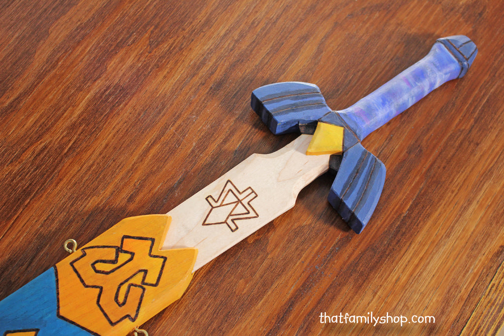 Legend of Zelda Master Sword, Painted Wooden Toy Sword, Computer/Video Game, Replica Costume Prop-thatfamilyshop.com
