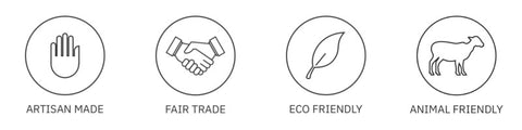 artisan made, fair trade, eco friends and animal friendly symbols