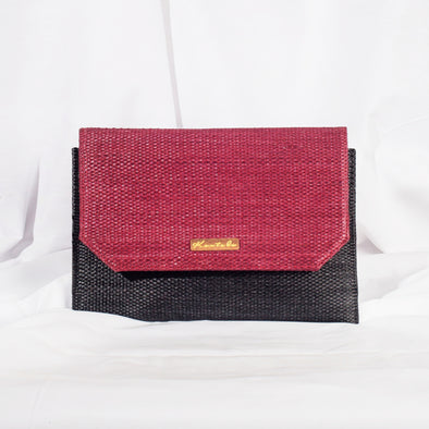 Jane Clutch - Charcoal & Burgundy