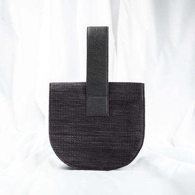 charcoal colour colour Kantala vegan fashion circular clutch handbag made with sustainable vegan materials