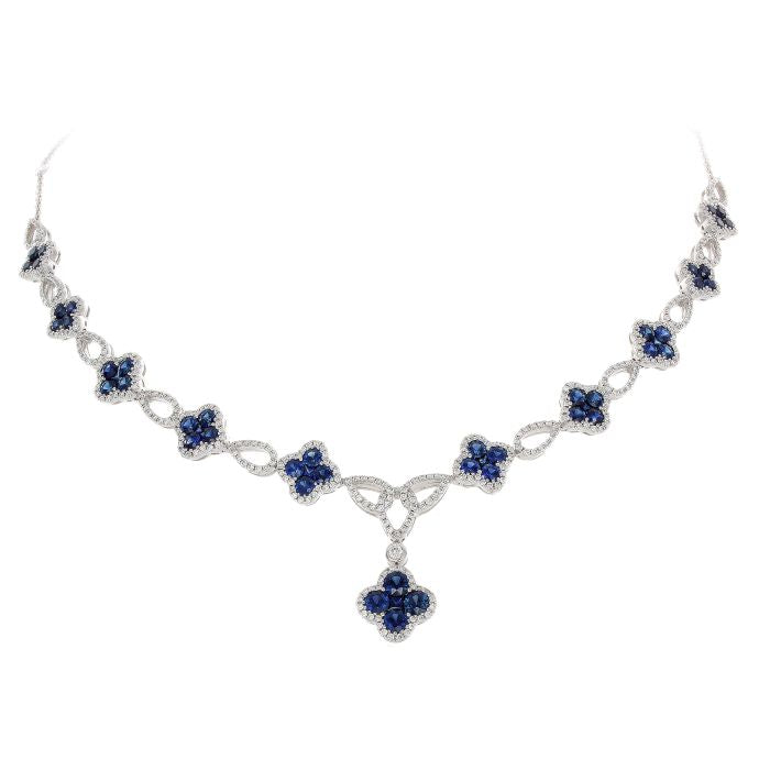 white diamond blue necklace gold sapphire ct tennis womens