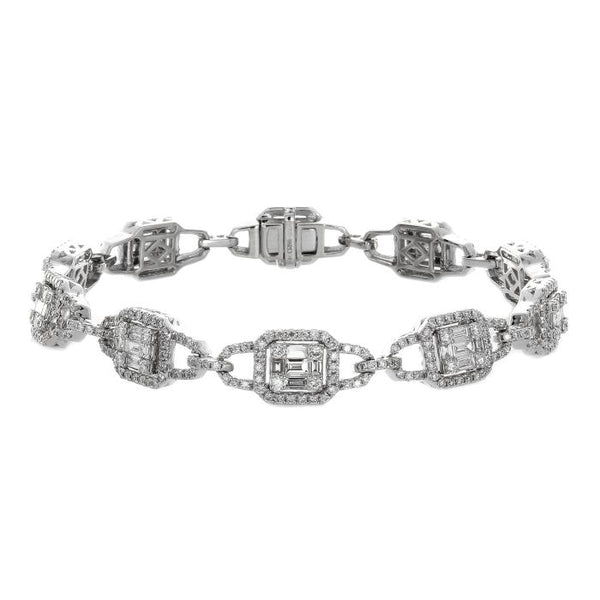 6F034017AWLBD0 18KT White Diamond Bracelet