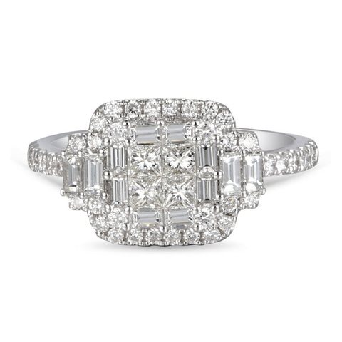 6F050539AQLRD0 18KT White Diamond Ring