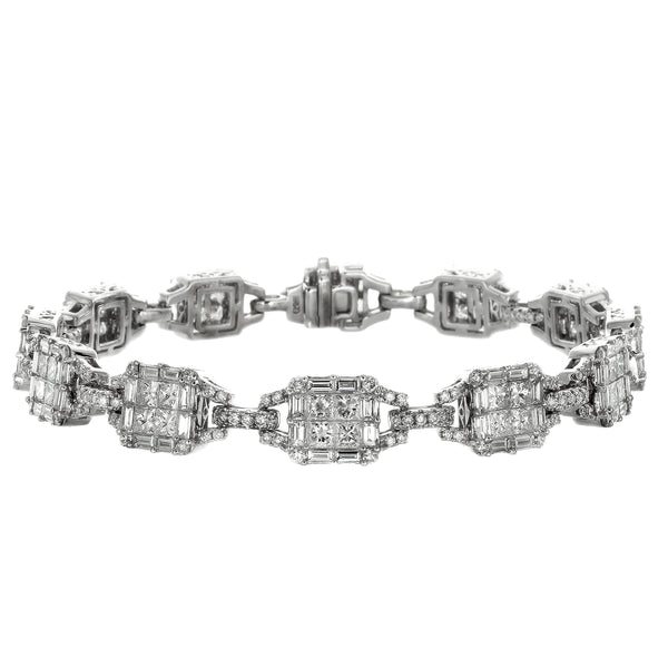 6F052932AWLBD0 18KT White Diamond Bracelet